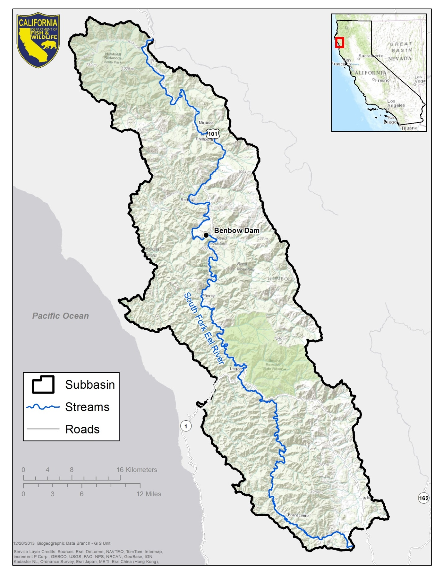 South Fork Eel River Watershed Studies Humboldt And Mendocino - California river map